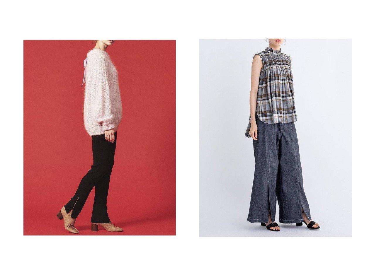 【LANVIN en Bleu/ランバン オン ブルー】のリネンデニムワイドパンツ&スリットニットパンツ パンツのおすすめ!人気、トレンド・レディースファッションの通販 おすすめで人気の流行・トレンド、ファッションの通販商品 メンズファッション・キッズファッション・インテリア・家具・レディースファッション・服の通販 founy(ファニー) https://founy.com/ ファッション Fashion レディースファッション WOMEN パンツ Pants デニムパンツ Denim Pants エレガント コンパクト スリット デニム バランス フロント リネン ベーシック レギンス 今季  ID:crp329100000016057