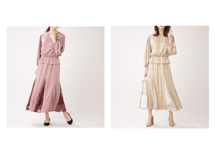 【nano universe/ナノ ユニバース】のレースコンビサテンワンピース ワンピース・ドレスのおすすめ!人気、トレンド・レディースファッションの通販 おすすめファッション通販アイテム インテリア・キッズ・メンズ・レディースファッション・服の通販 founy(ファニー) https://founy.com/ ファッション Fashion レディースファッション WOMEN ワンピース Dress サテン スリーブ フェミニン プリーツ リュクス レース |ID:crp329100000016373