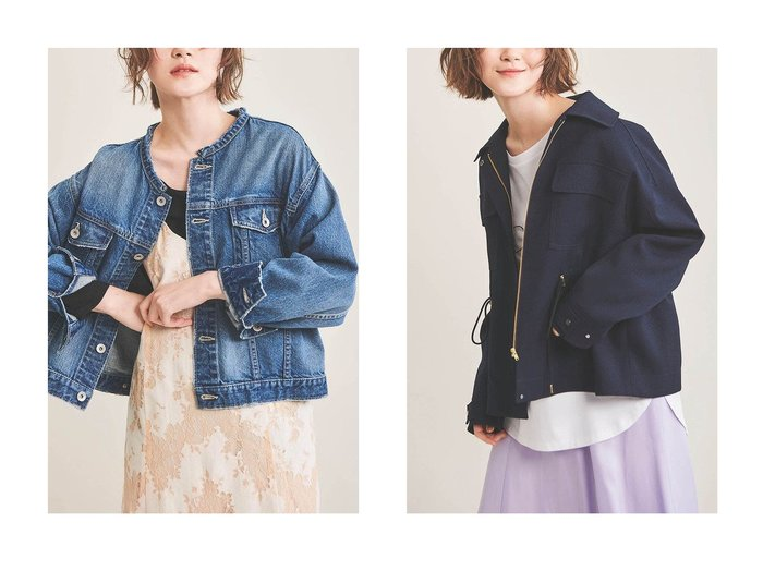 【The Virgnia/ザ ヴァージニア】のデニムノーカラーGジャン&ドロストブルゾン The Virgniaのおすすめ!人気、トレンド・レディースファッションの通販 おすすめファッション通販アイテム レディースファッション・服の通販 founy(ファニー) ファッション Fashion レディースファッション WOMEN アウター Coat Outerwear ジャケット Jackets ブルゾン Blouson Jackets 2021年 2021 2021 春夏 S/S SS Spring/Summer 2021 S/S 春夏 SS Spring/Summer ジャケット フェミニン フラップ ブルゾン ポケット 春 Spring  ID:crp329100000016932