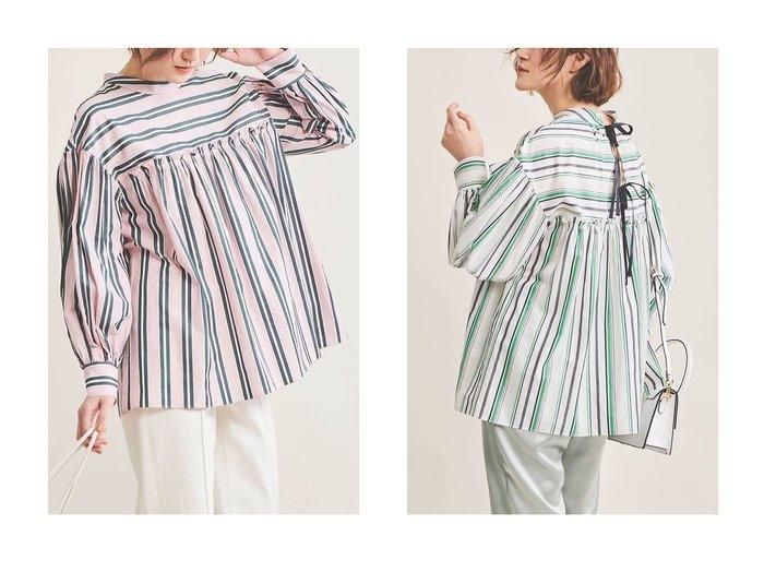 【The Virgnia/ザ ヴァージニア】のストライプボリュームスリーブブラウス The Virgniaのおすすめ!人気、トレンド・レディースファッションの通販 おすすめファッション通販アイテム レディースファッション・服の通販 founy(ファニー) ファッション Fashion レディースファッション WOMEN トップス Tops Tshirt シャツ/ブラウス Shirts Blouses ボリュームスリーブ / フリル袖 Volume Sleeve 2021年 2021 2021 春夏 S/S SS Spring/Summer 2021 S/S 春夏 SS Spring/Summer イタリア サテン スタンド ストライプ スリーブ トレンド ラベンダー リボン ロング 春 Spring |ID:crp329100000016933