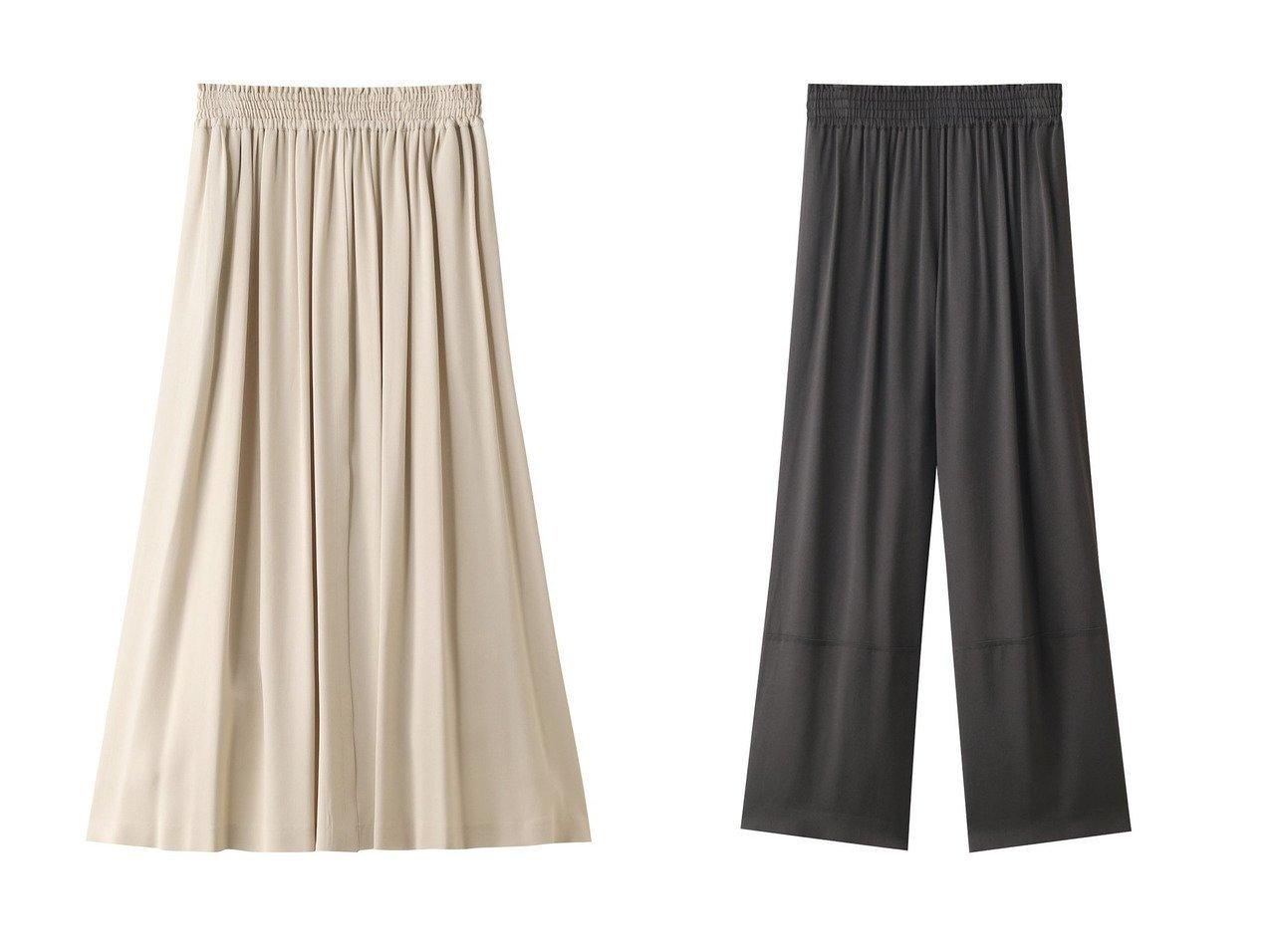 【ebure/エブール】のピュアビスコース フレアパンツ&ピュアビスコース ギャザースカート ebureのおすすめ!人気、トレンド・レディースファッションの通販 おすすめで人気の流行・トレンド、ファッションの通販商品 メンズファッション・キッズファッション・インテリア・家具・レディースファッション・服の通販 founy(ファニー) https://founy.com/ ファッション Fashion レディースファッション WOMEN パンツ Pants スカート Skirt ロングスカート Long Skirt 2021年 2021 2021 春夏 S/S SS Spring/Summer 2021 S/S 春夏 SS Spring/Summer サテン シャーリング シンプル フレア ワイド 春 Spring  ID:crp329100000016954