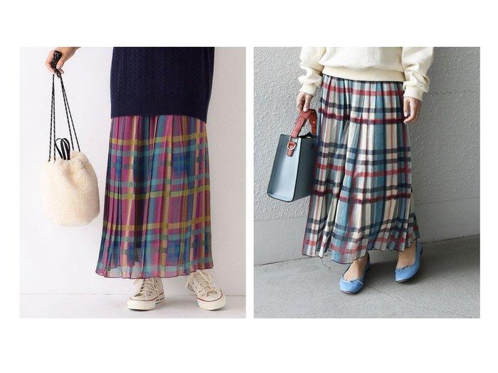 【SHIPS any/シップス エニィ】のSHIPS any SPRINTEX チェックプリーツスカート SHIPSのおすすめ!人気、トレンド・レディースファッションの通販  おすすめファッション通販アイテム レディースファッション・服の通販 founy(ファニー) ファッション Fashion レディースファッション WOMEN スカート Skirt プリーツスカート Pleated Skirts 秋 Autumn/Fall カットソー シフォン スウェット チェック トレンド フランス プリント プリーツ ランダム ロング 再入荷 Restock/Back in Stock/Re Arrival |ID:crp329100000017165