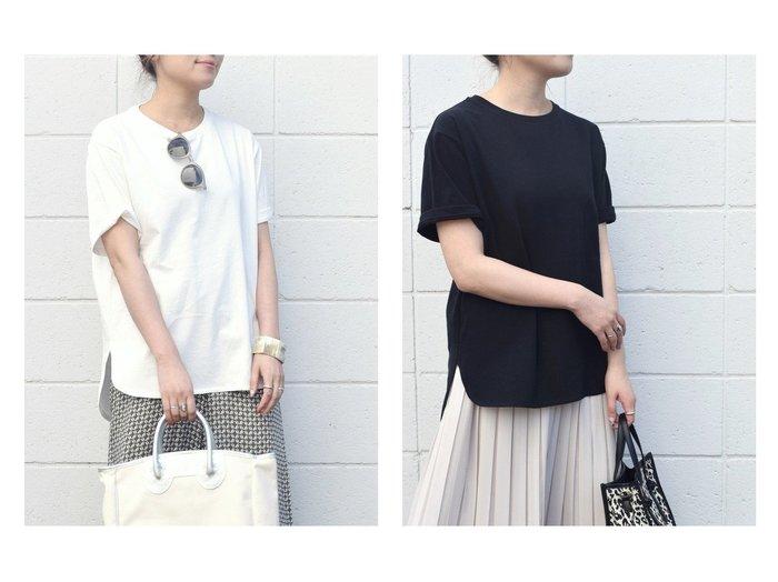 【SHIPS any/シップス エニィ】のSHIPSany ラウンドヘムハーフスリーブTEE SHIPSのおすすめ!人気、トレンド・レディースファッションの通販  おすすめファッション通販アイテム レディースファッション・服の通販 founy(ファニー) ファッション Fashion レディースファッション WOMEN トップス Tops Tshirt シャツ/ブラウス Shirts Blouses ロング / Tシャツ T-Shirts カットソー Cut and Sewn カットソー スリーブ ハーフ ラウンド ロング ワイド |ID:crp329100000017167