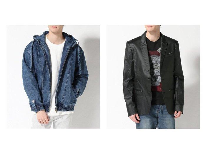 【GUESS / MEN/ゲス】のLogo Denim Hooded Jacket&DANGELO COATED BLAZER 【MEN】GUESSのおすすめ!人気トレンド・男性、メンズファッションの通販 おすすめファッション通販アイテム レディースファッション・服の通販 founy(ファニー)  ファッション Fashion メンズファッション MEN アウター Coats Outerwear Men NEW・新作・新着・新入荷 New Arrivals シンプル ジャケット デニム インナー クール ポケット |ID:crp329100000017292
