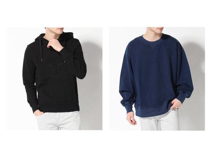 【GUESS / MEN/ゲス】のHOODIES WITH EMBOSSED LOGO&Triangle Logo Indigo Sweat 【MEN】GUESSのおすすめ!人気トレンド・男性、メンズファッションの通販 おすすめファッション通販アイテム レディースファッション・服の通販 founy(ファニー)  ファッション Fashion メンズファッション MEN トップス Tops Tshirt Men パーカ Sweats NEW・新作・新着・新入荷 New Arrivals カットソー シンプル パーカー フロント 冬 Winter 秋 Autumn/Fall スウェット 無地 |ID:crp329100000017293