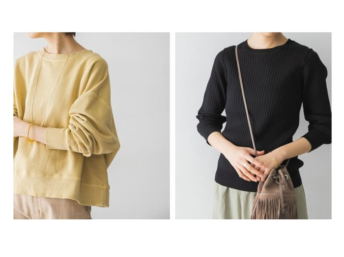 【URBAN RESEARCH/アーバンリサーチ】のピグメントカラースウェット&Nコンパクトリブニット(長袖) URBAN RESEARCHのおすすめ!人気、トレンド・レディースファッションの通販  おすすめファッション通販アイテム レディースファッション・服の通販 founy(ファニー) ファッション Fashion レディースファッション WOMEN トップス Tops Tshirt パーカ Sweats スウェット Sweat ニット Knit Tops ポケット ヴィンテージ 再入荷 Restock/Back in Stock/Re Arrival 定番 Standard 春 Spring A/W 秋冬 AW Autumn/Winter / FW Fall-Winter S/S 春夏 SS Spring/Summer インナー キャミワンピース セーター プリント ベーシック 冬 Winter 長袖 |ID:crp329100000017409