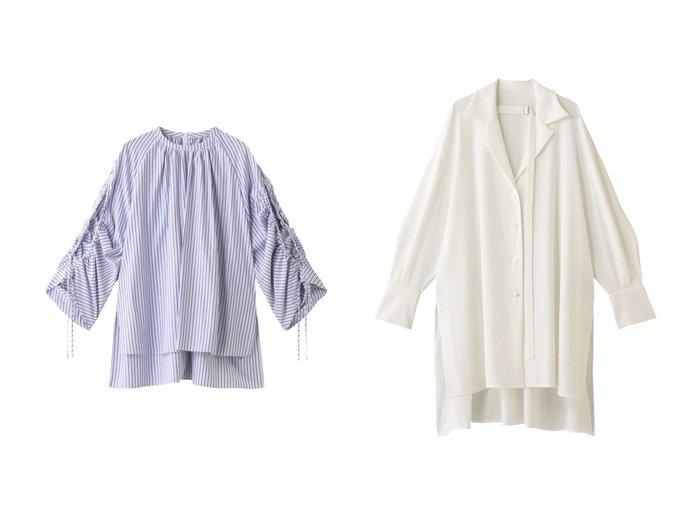 【ADORE/アドーア】のクリアブロードブラウス&ドライソフトブラウス ADOREのおすすめ!人気、トレンド・レディースファッションの通販  おすすめファッション通販アイテム レディースファッション・服の通販 founy(ファニー) ファッション Fashion レディースファッション WOMEN トップス Tops Tshirt シャツ/ブラウス Shirts Blouses 2021年 2021 2021 春夏 S/S SS Spring/Summer 2021 S/S 春夏 SS Spring/Summer なめらか シャーリング スリット スリーブ フェミニン ブロード ロング 春 Spring |ID:crp329100000017463