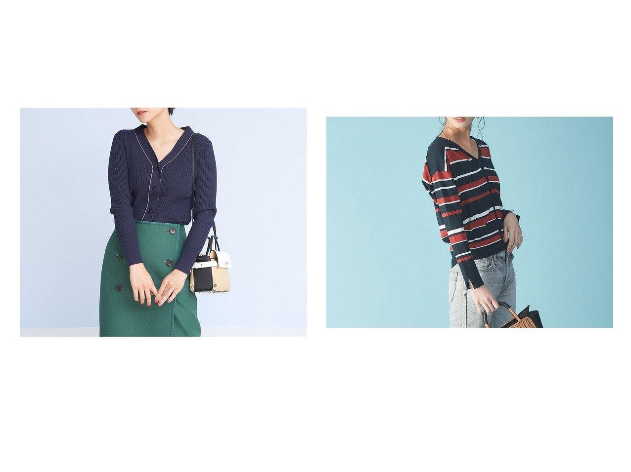 【Rouge vif la cle/ルージュヴィフラクレ】のワイドリブVネックカーディンガン&マルチボーダーカーディガン Rouge vif la cleのおすすめ!人気、トレンド・レディースファッションの通販  おすすめで人気の流行・トレンド、ファッションの通販商品 メンズファッション・キッズファッション・インテリア・家具・レディースファッション・服の通販 founy(ファニー) https://founy.com/ ファッション Fashion レディースファッション WOMEN トップス Tops Tshirt Vネック V-Neck カーディガン Cardigans S/S 春夏 SS Spring/Summer ワイドリブ 春 Spring  ID:crp329100000017625