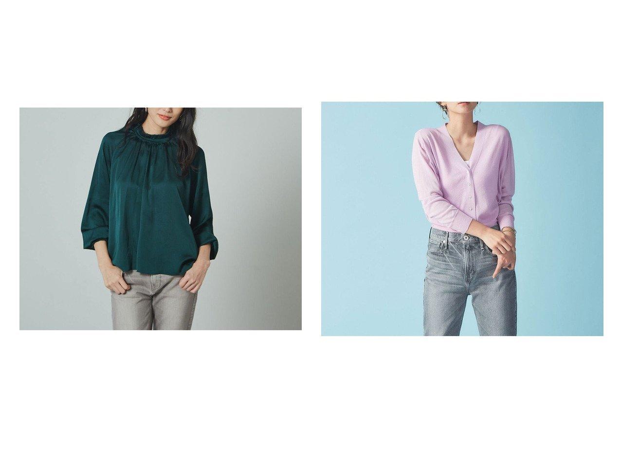 【Rouge vif la cle/ルージュヴィフラクレ】の【BRAHMIN】ストレッチサテンフリルネックブラウス&ウォッシャブルカーディガン2 Rouge vif la cleのおすすめ!人気、トレンド・レディースファッションの通販  おすすめで人気の流行・トレンド、ファッションの通販商品 メンズファッション・キッズファッション・インテリア・家具・レディースファッション・服の通販 founy(ファニー) https://founy.com/ ファッション Fashion レディースファッション WOMEN トップス Tops Tshirt シャツ/ブラウス Shirts Blouses カーディガン Cardigans サテン ストレッチ ダウン デニム フェミニン フリル A/W 秋冬 AW Autumn/Winter / FW Fall-Winter 2020年 2020 2020-2021 秋冬 A/W AW Autumn/Winter / FW Fall-Winter 2020-2021 S/S 春夏 SS Spring/Summer カーディガン ベーシック 春 Spring 羽織  ID:crp329100000017633