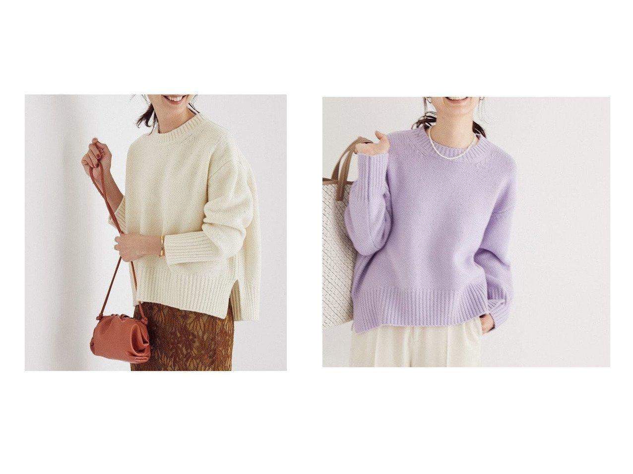 【ROPE'/ロペ】の【新色追加】タスマニアウールクルーネックニット ROPEのおすすめ!人気、トレンド・レディースファッションの通販  おすすめで人気の流行・トレンド、ファッションの通販商品 メンズファッション・キッズファッション・インテリア・家具・レディースファッション・服の通販 founy(ファニー) https://founy.com/ ファッション Fashion レディースファッション WOMEN トップス Tops Tshirt ニット Knit Tops A/W 秋冬 AW Autumn/Winter / FW Fall-Winter イエロー シンプル スリット セーター フォルム フロント リラックス 再入荷 Restock/Back in Stock/Re Arrival |ID:crp329100000017828