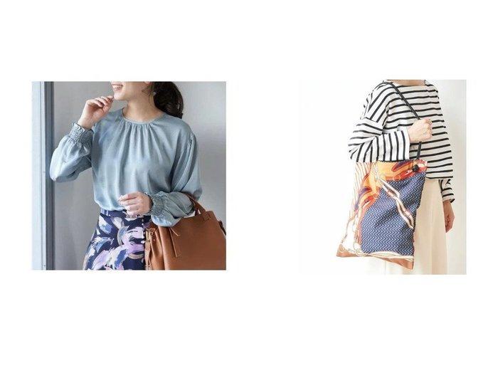 【ROPE' PICNIC/ロペピクニック】のスカーフプリントWハンドルトートバッグ&【2WAY】パール釦サテンブラウス ROPEのおすすめ!人気、トレンド・レディースファッションの通販  おすすめファッション通販アイテム レディースファッション・服の通販 founy(ファニー) ファッション Fashion レディースファッション WOMEN トップス Tops Tshirt シャツ/ブラウス Shirts Blouses バッグ Bag インナー 春 Spring サテン シルバー シンプル ジャケット ジーンズ 長袖 パール ボトム ポケット A/W 秋冬 AW Autumn/Winter / FW Fall-Winter スカーフ プリント |ID:crp329100000017852
