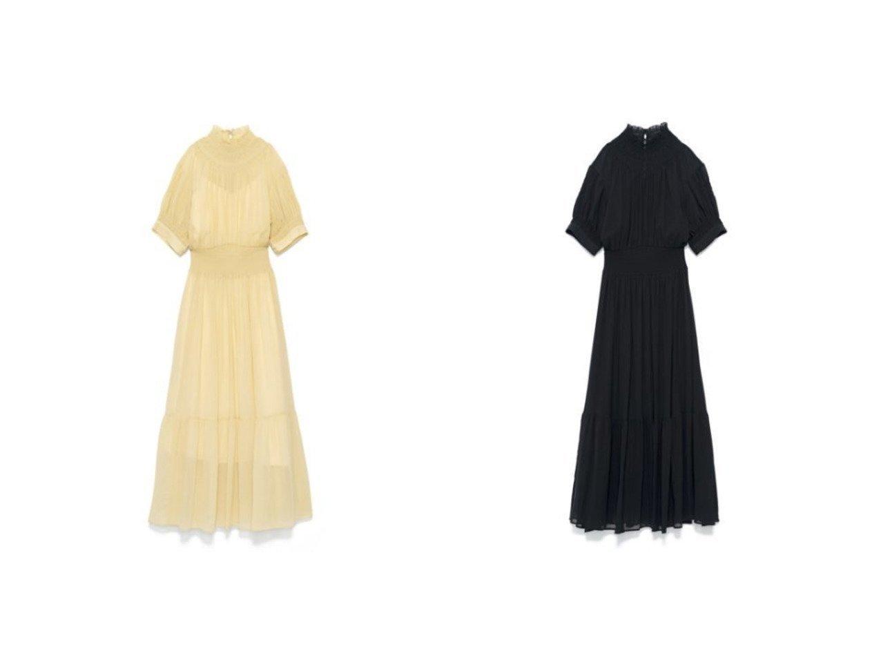 【CASA FLINE/カーサフライン】のハイネックタックパフスリーブドレス CASA FLINEのおすすめ!人気、トレンド・レディースファッションの通販 おすすめで人気の流行・トレンド、ファッションの通販商品 メンズファッション・キッズファッション・インテリア・家具・レディースファッション・服の通販 founy(ファニー) https://founy.com/ ファッション Fashion レディースファッション WOMEN ワンピース Dress ドレス Party Dresses イエロー インナー オケージョン キャミソール シャーリング デコルテ ドレス ドレープ フェミニン フォーマル リラックス 半袖 |ID:crp329100000018052
