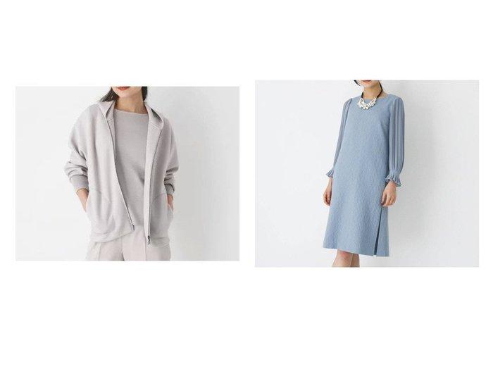【modify/モディファイ】の膨れジャカード袖切り替えクルーネックワンピース&バックリブジップアップパーカ modifyのおすすめ!人気、トレンド・レディースファッションの通販 おすすめファッション通販アイテム レディースファッション・服の通販 founy(ファニー) ファッション Fashion レディースファッション WOMEN トップス Tops Tshirt パーカ Sweats スウェット Sweat ワンピース Dress スウェット スポーティ ダウン パーカー ポケット 2021年 2021 2021 春夏 S/S SS Spring/Summer 2021 S/S 春夏 SS Spring/Summer アクリル エレガント キュプラ ジャカード プリーツ ボックス 春 Spring  ID:crp329100000018241