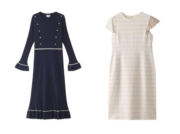【LANVIN en Bleu/ランバン オン ブルー】のアシメフリルワンピース&アイレットリブニットワンピース LANVIN en Bleuのおすすめ!人気、トレンド・レディースファッションの通販 おすすめファッション通販アイテム レディースファッション・服の通販 founy(ファニー) ファッション Fashion レディースファッション WOMEN ワンピース Dress ニットワンピース Knit Dresses 2021年 2021 2021 春夏 S/S SS Spring/Summer 2021 S/S 春夏 SS Spring/Summer インナー フレア マキシ リブニット ロング 春 Spring |ID:crp329100000018332