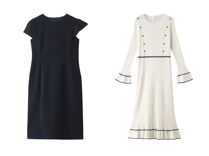 【LANVIN en Bleu/ランバン オン ブルー】のアシメフリルワンピース&アイレットリブニットワンピース LANVIN en Bleuのおすすめ!人気、トレンド・レディースファッションの通販 おすすめファッション通販アイテム レディースファッション・服の通販 founy(ファニー) ファッション Fashion レディースファッション WOMEN ワンピース Dress ニットワンピース Knit Dresses 2021年 2021 2021 春夏 S/S SS Spring/Summer 2021 S/S 春夏 SS Spring/Summer アシンメトリー ショルダー フリル 春 Spring |ID:crp329100000018333