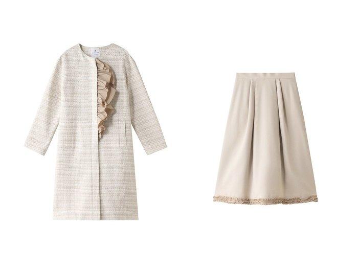 【LANVIN en Bleu/ランバン オン ブルー】のフリルヘムスカート&ノーカラーフリルコート LANVIN en Bleuのおすすめ!人気、トレンド・レディースファッションの通販 おすすめファッション通販アイテム レディースファッション・服の通販 founy(ファニー) ファッション Fashion レディースファッション WOMEN アウター Coat Outerwear コート Coats スカート Skirt 2021年 2021 2021 春夏 S/S SS Spring/Summer 2021 S/S 春夏 SS Spring/Summer シンプル フェミニン フリル フロント ロング 春 Spring |ID:crp329100000018335