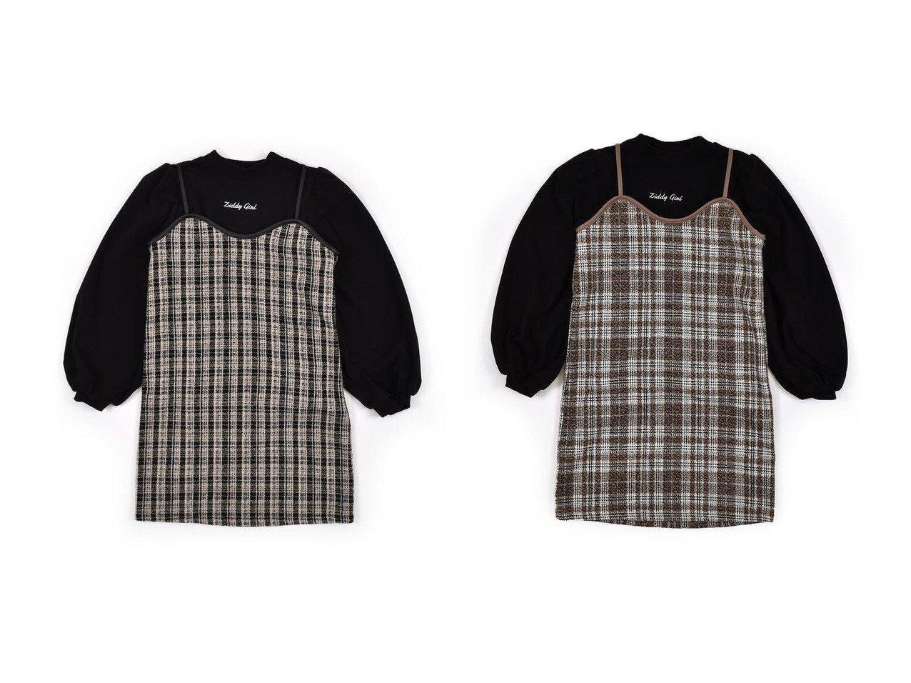 【ZIDDY / KIDS/ジディー】のチェック柄 ツイード ワンピース + ボリュームスリーブ Tシャツ 2点セット( KIDS】子供服のおすすめ!人気トレンド・キッズファッションの通販 おすすめで人気の流行・トレンド、ファッションの通販商品 メンズファッション・キッズファッション・インテリア・家具・レディースファッション・服の通販 founy(ファニー) https://founy.com/ ファッション Fashion キッズファッション KIDS ワンピース Dress Kids スリーブ チェック ツイード 再入荷 Restock/Back in Stock/Re Arrival |ID:crp329100000018389