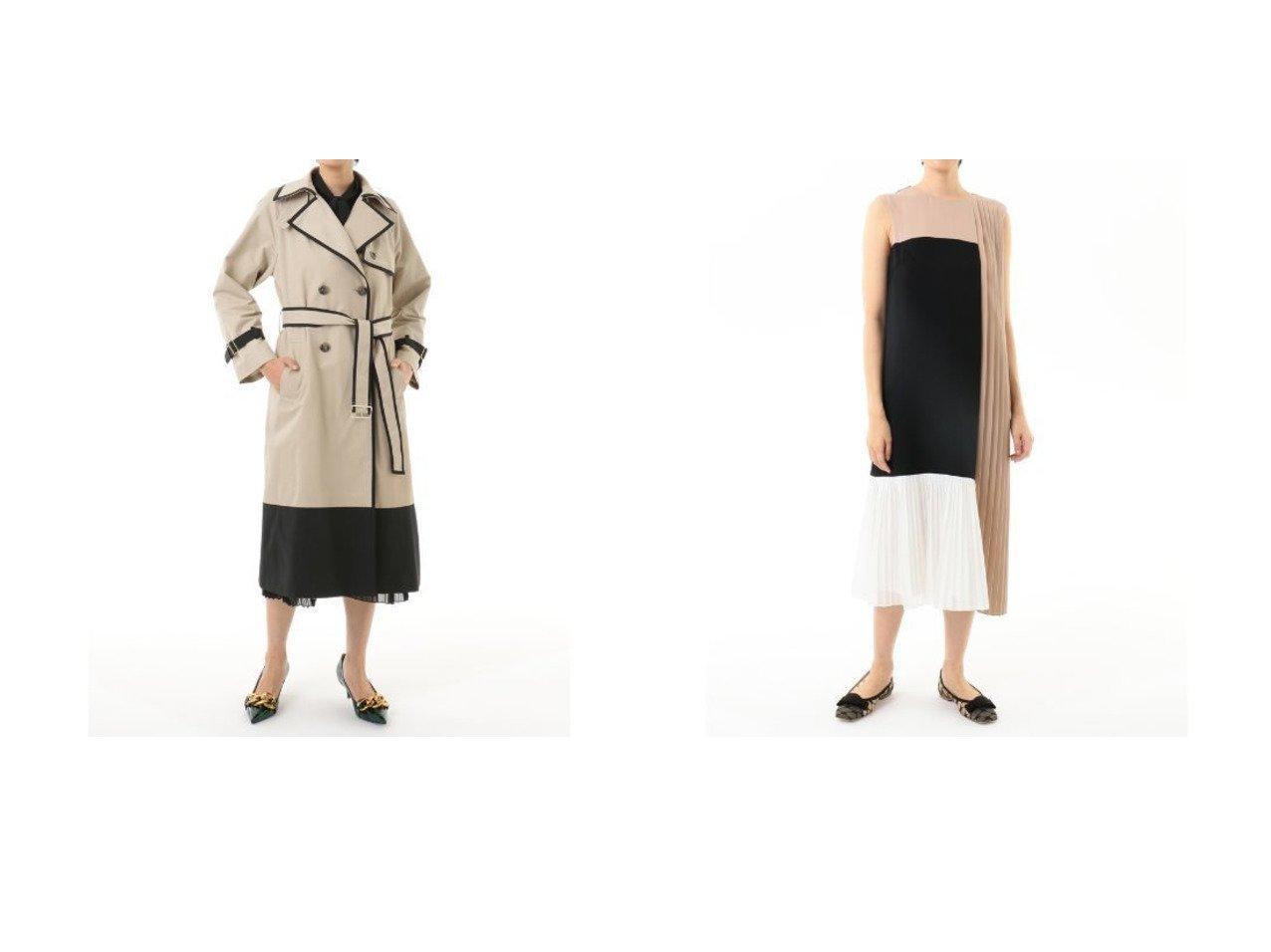 【GRACE CONTINENTAL/グレース コンチネンタル】のバイカラートレンチコート&カラーブロックプリーツワンピース GRACE CONTINENTALのおすすめ!人気、トレンド・レディースファッションの通販  おすすめで人気の流行・トレンド、ファッションの通販商品 メンズファッション・キッズファッション・インテリア・家具・レディースファッション・服の通販 founy(ファニー) https://founy.com/ ファッション Fashion レディースファッション WOMEN アウター Coat Outerwear コート Coats トレンチコート Trench Coats ワンピース Dress ドレス Party Dresses パイピング パッチ ドレス フェミニン フォーマル ブロック プリーツ モダン |ID:crp329100000018683