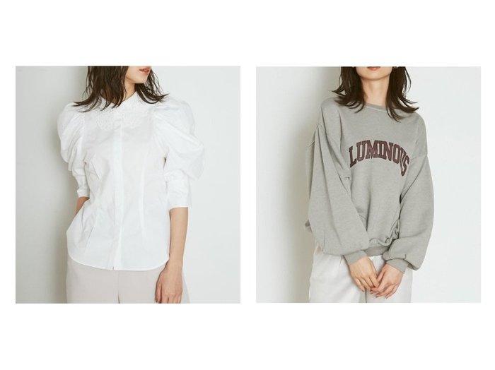 【SNIDEL/スナイデル】のORGANICSレースカラーシャツブラウス&ORGANICSピグメントロゴスウェット SNIDELのおすすめ!人気、トレンド・レディースファッションの通販  おすすめファッション通販アイテム レディースファッション・服の通販 founy(ファニー) ファッション Fashion レディースファッション WOMEN トップス Tops Tshirt シャツ/ブラウス Shirts Blouses パーカ Sweats スウェット Sweat カットソー Cut and Sewn NEW・新作・新着・新入荷 New Arrivals カフス ギャザー シンプル レース 人気 再入荷 Restock/Back in Stock/Re Arrival |ID:crp329100000018690