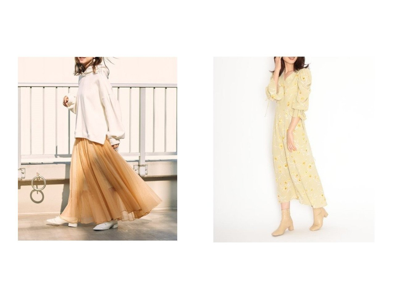 【SNIDEL/スナイデル】のパフスリーブプリントIラインワンピース&シアータックボリュームスカート SNIDELのおすすめ!人気、トレンド・レディースファッションの通販  おすすめで人気の流行・トレンド、ファッションの通販商品 メンズファッション・キッズファッション・インテリア・家具・レディースファッション・服の通販 founy(ファニー) https://founy.com/ ファッション Fashion レディースファッション WOMEN スカート Skirt ロングスカート Long Skirt ワンピース Dress エアリー オレンジ シアー フレア ミックス ロング 再入荷 Restock/Back in Stock/Re Arrival |ID:crp329100000018691