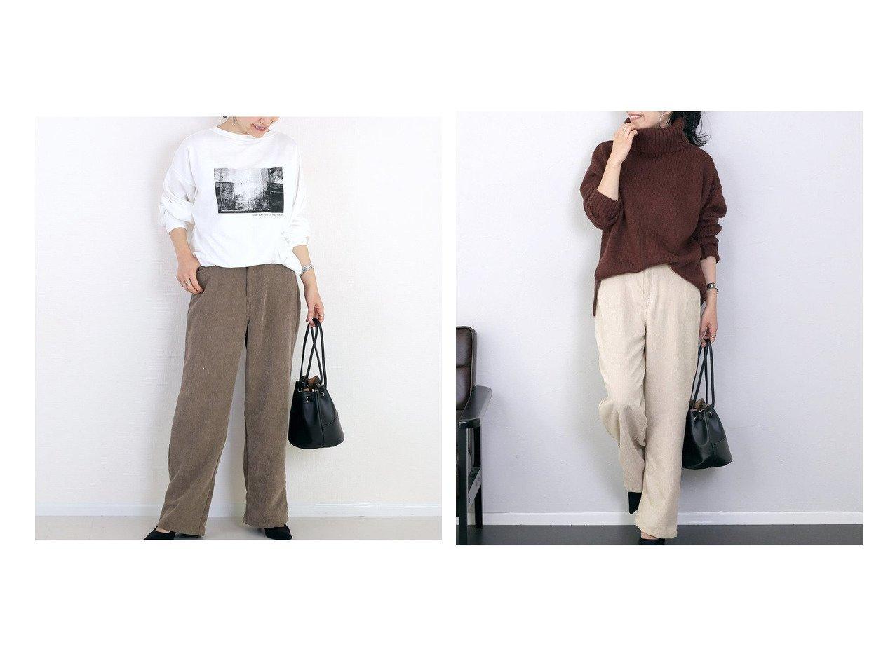 【Aletta Vita/アレッタ】のエステルコールセミワイドパンツ パンツのおすすめ!人気、トレンド・レディースファッションの通販  おすすめで人気の流行・トレンド、ファッションの通販商品 メンズファッション・キッズファッション・インテリア・家具・レディースファッション・服の通販 founy(ファニー) https://founy.com/ ファッション Fashion レディースファッション WOMEN パンツ Pants コーデュロイ ストライプ リラックス |ID:crp329100000018881