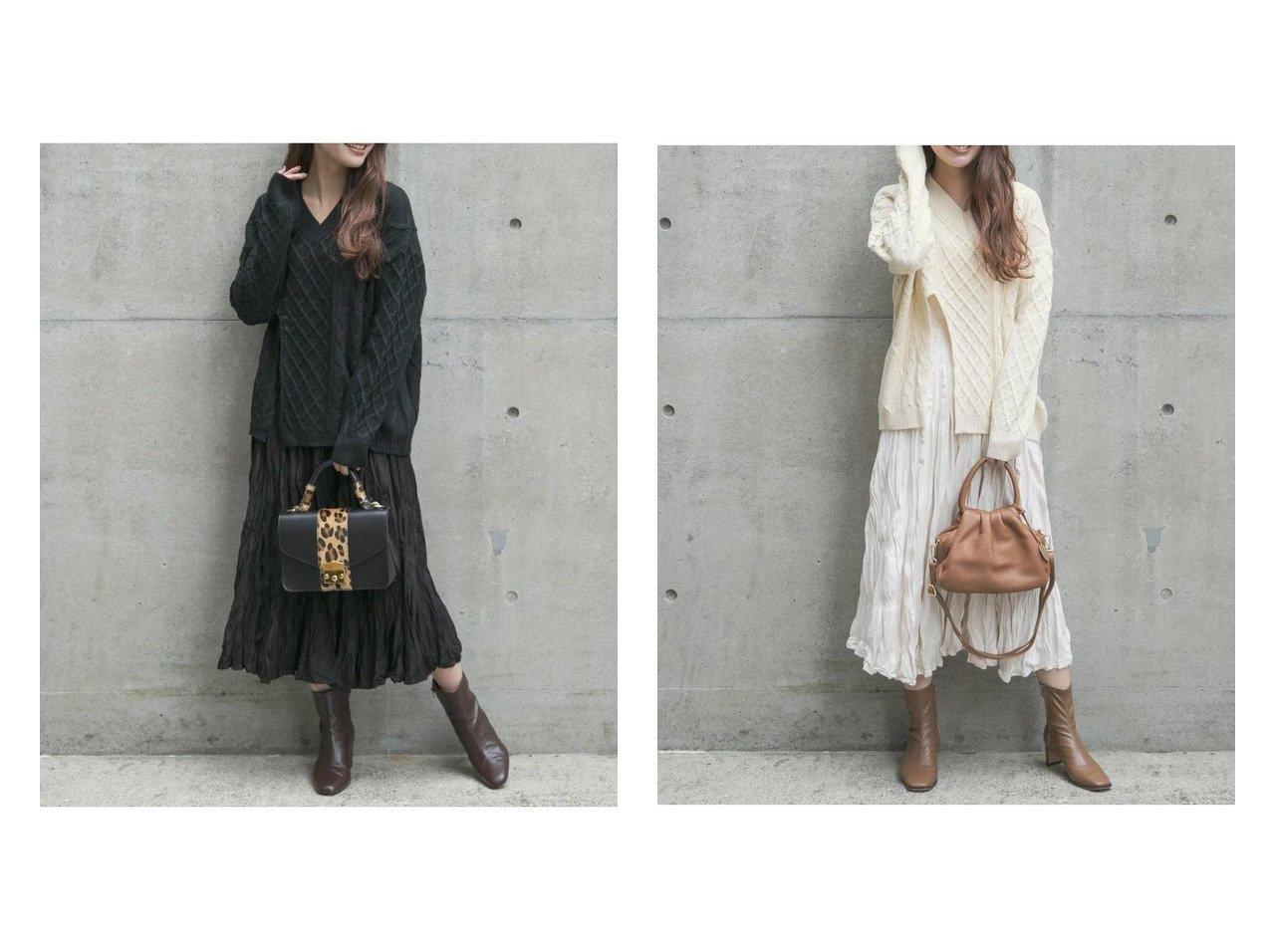 【VICKY/ビッキー】の【2点セット】スリットケーブルニット×スエードプリーツスカートセット VICKYのおすすめ!人気、トレンド・レディースファッションの通販  おすすめで人気の流行・トレンド、ファッションの通販商品 メンズファッション・キッズファッション・インテリア・家具・レディースファッション・服の通販 founy(ファニー) https://founy.com/ ファッション Fashion レディースファッション WOMEN スカート Skirt プリーツスカート Pleated Skirts インナー スエード スリット フロント プリーツ ワッシャー |ID:crp329100000018948