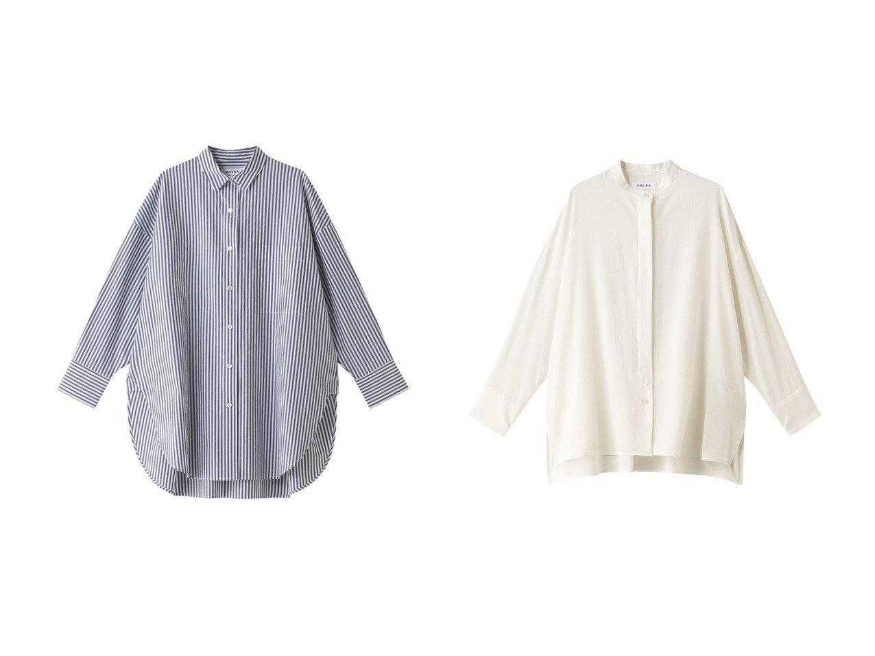 【SACRA/サクラ】のハイカウントコットンストライプシャツ&トリアセマイクロクレープブラウス SACRAのおすすめ!人気、トレンド・レディースファッションの通販 おすすめで人気の流行・トレンド、ファッションの通販商品 メンズファッション・キッズファッション・インテリア・家具・レディースファッション・服の通販 founy(ファニー) https://founy.com/ ファッション Fashion レディースファッション WOMEN トップス Tops Tshirt シャツ/ブラウス Shirts Blouses 2021年 2021 2021 春夏 S/S SS Spring/Summer 2021 S/S 春夏 SS Spring/Summer ストライプ スリット スリーブ ボトム ロング 春 Spring |ID:crp329100000019064