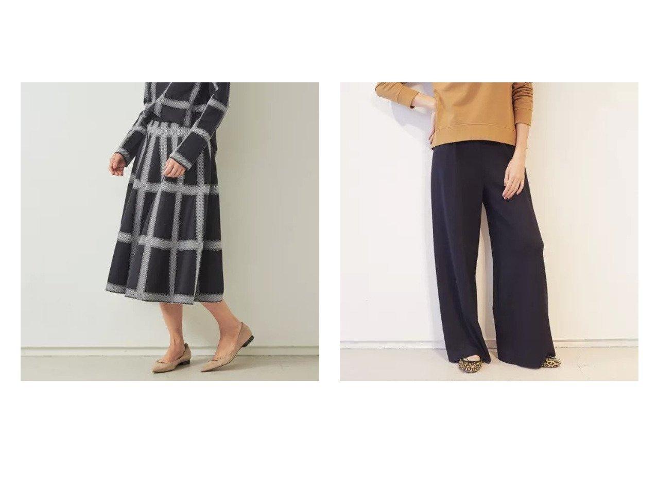 【Rouge vif/ルージュ ヴィフ】の【BRAHMIN】イージーワイドポンチパンツ&【BRAHMIN】チェック柄ジャガードニットスカート Rouge vifのおすすめ!人気、トレンド・レディースファッションの通販 おすすめで人気の流行・トレンド、ファッションの通販商品 メンズファッション・キッズファッション・インテリア・家具・レディースファッション・服の通販 founy(ファニー) https://founy.com/ ファッション Fashion レディースファッション WOMEN スカート Skirt パンツ Pants シンプル セットアップ チェック フェミニン マキシ ロング シューズ ストレッチ フラット ボトム ワイド  ID:crp329100000019128