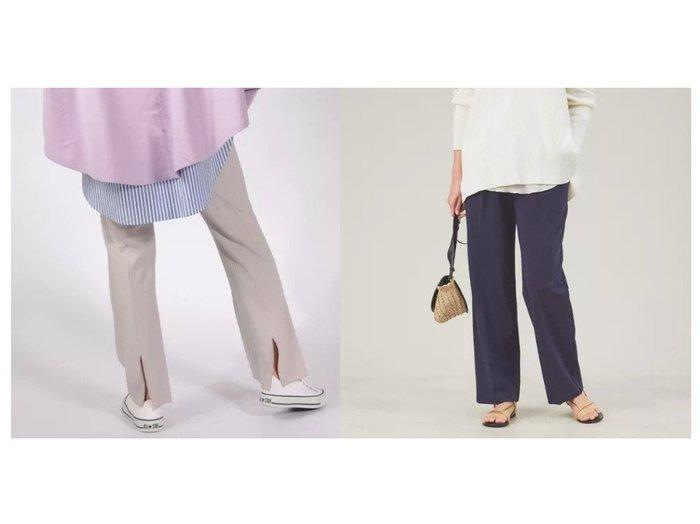 【qualite/カリテ】の【WEB限定】カットワイドイージーパンツ&【NOLLEY'S/ノーリーズ】のリブバックスリットパンツ パンツのおすすめ!人気、トレンド・レディースファッションの通販 おすすめファッション通販アイテム レディースファッション・服の通販 founy(ファニー) ファッション Fashion レディースファッション WOMEN パンツ Pants スリット ドローコード フレア カットソー ストレート フィット ワイド ワーク 人気 定番 Standard |ID:crp329100000019196