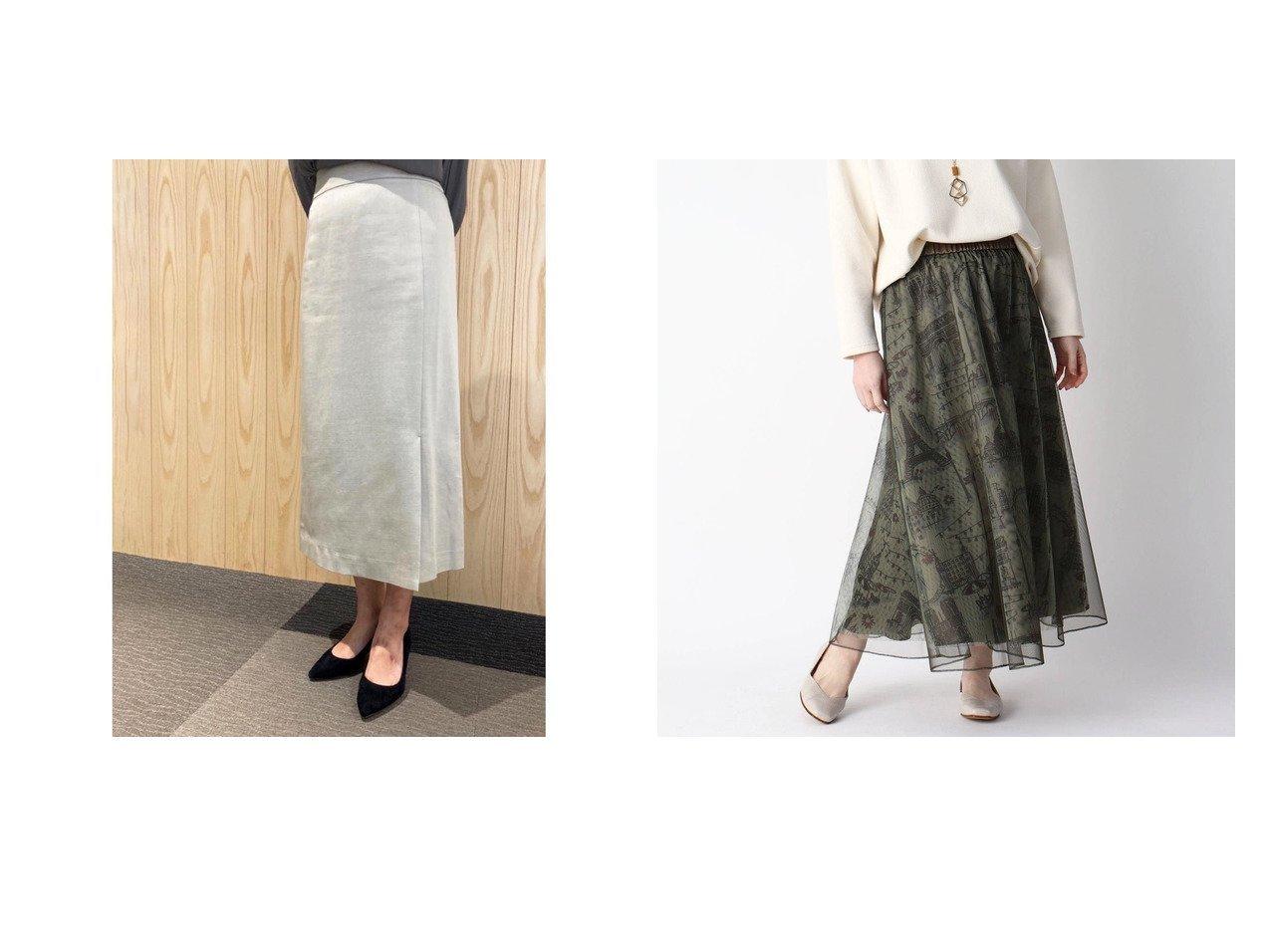【le.coeur blanc/ルクールブラン】のle.coeur blanc デニムライクスリットスカート&【smartpink/スマートピンク】のパリモチーフプリントチュールレイヤードスカート スカートのおすすめ!人気、トレンド・レディースファッションの通販  おすすめで人気の流行・トレンド、ファッションの通販商品 メンズファッション・キッズファッション・インテリア・家具・レディースファッション・服の通販 founy(ファニー) https://founy.com/ ファッション Fashion レディースファッション WOMEN スカート Skirt S/S 春夏 SS Spring/Summer シンプル ストレッチ スリット デニム 春 Spring |ID:crp329100000019242