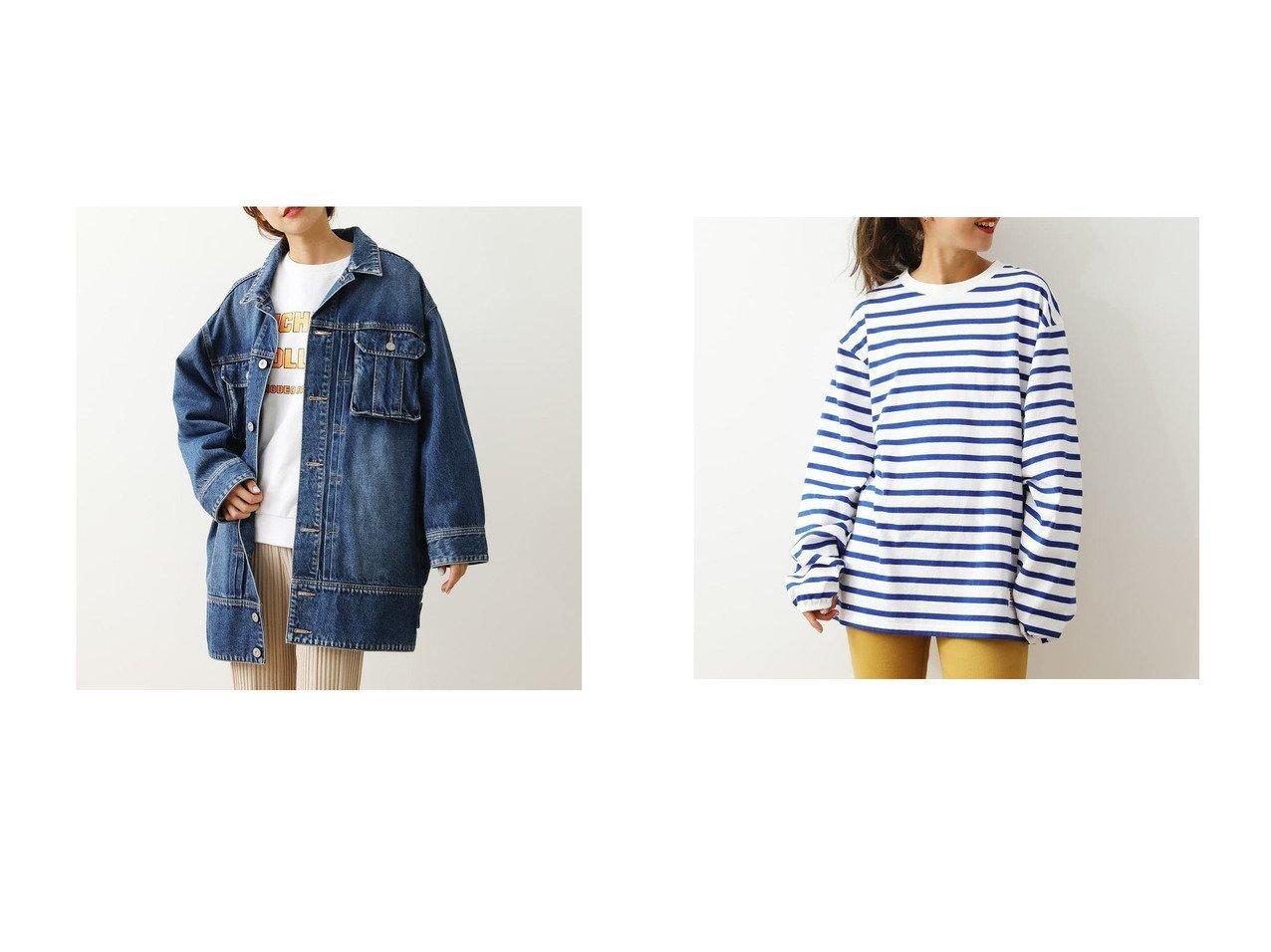 【RODEO CROWNS WIDE BOWL/ロデオクラウンズワイドボウル】のビッグデニムジャケット&SHARE LOOSE BORDER Tシャツ 柄BLU5 RODEO CROWNS WIDE BOWLのおすすめ!人気、トレンド・レディースファッションの通販  おすすめで人気の流行・トレンド、ファッションの通販商品 メンズファッション・キッズファッション・インテリア・家具・レディースファッション・服の通販 founy(ファニー) https://founy.com/ ファッション Fashion レディースファッション WOMEN アウター Coat Outerwear ジャケット Jackets デニムジャケット Denim Jackets トップス Tops Tshirt シャツ/ブラウス Shirts Blouses ロング / Tシャツ T-Shirts 2021年 2021 2021 春夏 S/S SS Spring/Summer 2021 S/S 春夏 SS Spring/Summer ジャケット デニム トレンド フロント ポケット ミドル 春 Spring  ID:crp329100000019309