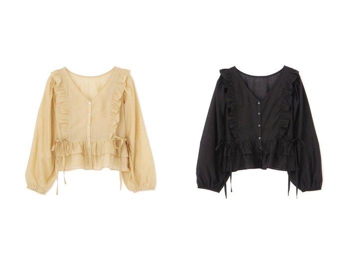 【FREE'S MART/フリーズマート】の前後2Wayシアー肩フリルサイドリボンブラウス FREE'S MARTのおすすめ!人気、トレンド・レディースファッションの通販  おすすめファッション通販アイテム レディースファッション・服の通販 founy(ファニー) ファッション Fashion レディースファッション WOMEN トップス Tops Tshirt シャツ/ブラウス Shirts Blouses インナー エアリー キャミソール シアー スタンダード タンク トレンド フリル リボン ロング 羽織 |ID:crp329100000019349