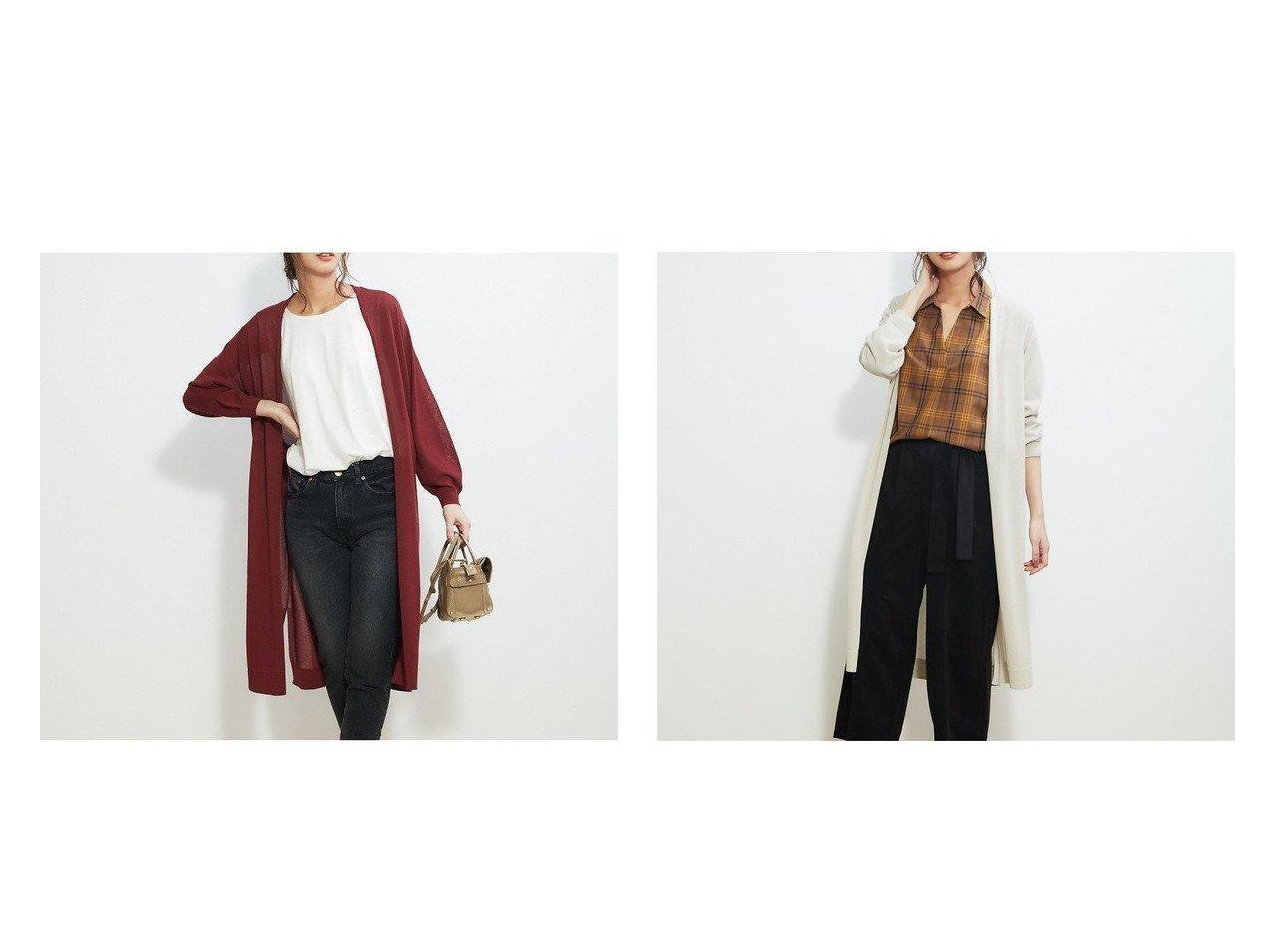 【Rouge vif la cle/ルージュヴィフラクレ】のロングカーディガン Rouge vifのおすすめ!人気、トレンド・レディースファッションの通販  おすすめで人気の流行・トレンド、ファッションの通販商品 メンズファッション・キッズファッション・インテリア・家具・レディースファッション・服の通販 founy(ファニー) https://founy.com/ ファッション Fashion レディースファッション WOMEN トップス Tops Tshirt ニット Knit Tops カーディガン Cardigans カーディガン スリット リボン ロング  ID:crp329100000019389