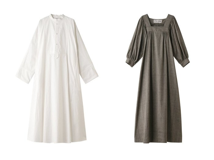 【INSCRIRE/アンスクリア】のグレンプレインドバルーンスリーブドレス&コットンタイプライタードレス INSCRIREのおすすめ!人気、トレンド・レディースファッションの通販 おすすめファッション通販アイテム レディースファッション・服の通販 founy(ファニー) ファッション Fashion レディースファッション WOMEN ワンピース Dress ドレス Party Dresses 2021年 2021 2021 春夏 S/S SS Spring/Summer 2021 S/S 春夏 SS Spring/Summer ギャザー コンパクト タイプライター ドレス ロング 春 Spring  ID:crp329100000019471