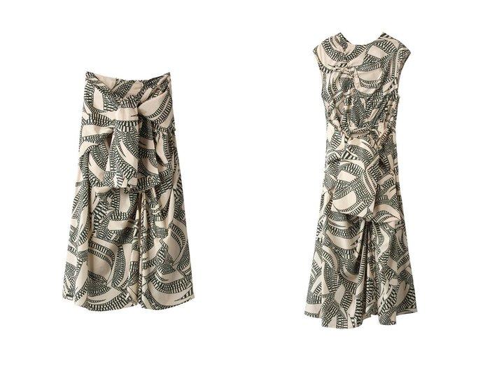 【muller of yoshiokubo/ミュラー オブ ヨシオクボ】のプリントコットンギャザードレス&プリントコットンフレアスカート muller of yoshiokuboのおすすめ!人気、トレンド・レディースファッションの通販 おすすめファッション通販アイテム レディースファッション・服の通販 founy(ファニー) ファッション Fashion レディースファッション WOMEN スカート Skirt Aライン/フレアスカート Flared A-Line Skirts ワンピース Dress ドレス Party Dresses 2021年 2021 2021 春夏 S/S SS Spring/Summer 2021 S/S 春夏 SS Spring/Summer スリット フレア プリント リボン 春 Spring  ID:crp329100000019505