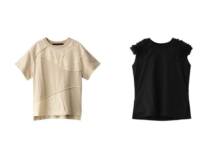 【muller of yoshiokubo/ミュラー オブ ヨシオクボ】のステムパネルTシャツ&シフォンフリルショルダーTシャツ muller of yoshiokuboのおすすめ!人気、トレンド・レディースファッションの通販 おすすめファッション通販アイテム インテリア・キッズ・メンズ・レディースファッション・服の通販 founy(ファニー) https://founy.com/ ファッション Fashion レディースファッション WOMEN トップス Tops Tshirt シャツ/ブラウス Shirts Blouses ロング / Tシャツ T-Shirts カットソー Cut and Sewn キャミソール / ノースリーブ No Sleeves 2021年 2021 2021 春夏 S/S SS Spring/Summer 2021 S/S 春夏 SS Spring/Summer ショート スリーブ フロント ランダム レース 半袖 春 Spring |ID:crp329100000019506