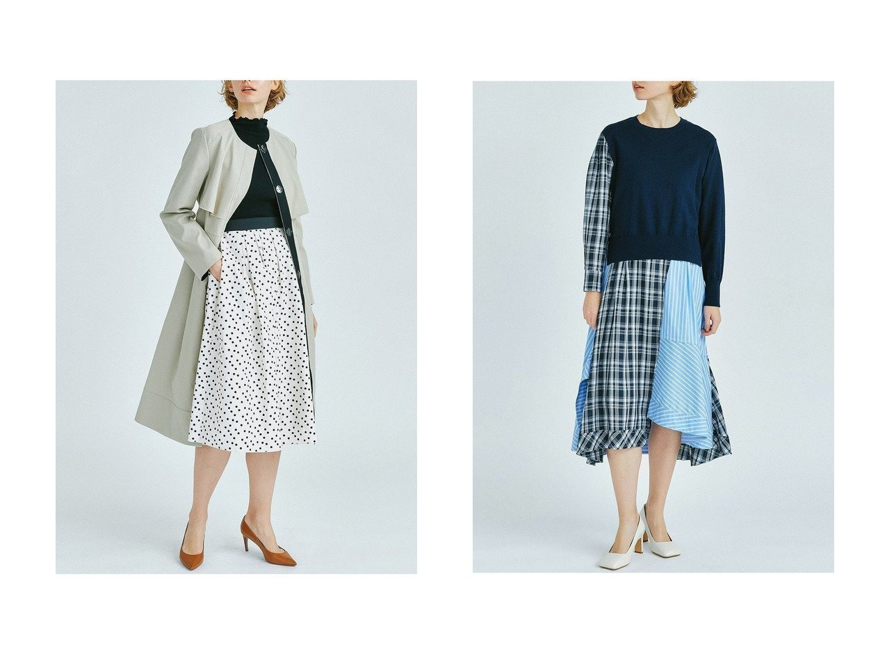 【LANVIN en Bleu/ランバン オン ブルー】のニットコンビMIXパターンワンピース&ノーカラーベルト付きコート LANVIN en Bleuのおすすめ!人気、トレンド・レディースファッションの通販 おすすめで人気の流行・トレンド、ファッションの通販商品 メンズファッション・キッズファッション・インテリア・家具・レディースファッション・服の通販 founy(ファニー) https://founy.com/ ファッション Fashion レディースファッション WOMEN アウター Coat Outerwear コート Coats ベルト Belts ワンピース Dress 春 Spring クール トレンド ハイネック フレア フロント リボン ロング 2021年 2021 S/S 春夏 SS Spring/Summer 2021 春夏 S/S SS Spring/Summer 2021 |ID:crp329100000019526