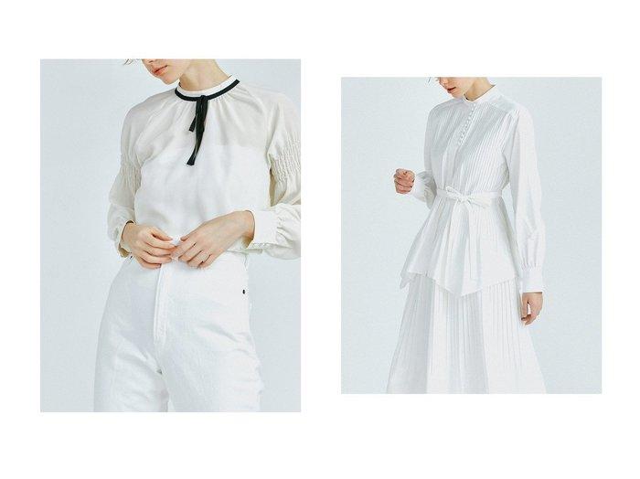 【LANVIN en Bleu/ランバン オン ブルー】のリボンタイブラウス&ブロードプリーツブラウス LANVIN en Bleuのおすすめ!人気、トレンド・レディースファッションの通販 おすすめファッション通販アイテム レディースファッション・服の通販 founy(ファニー) ファッション Fashion レディースファッション WOMEN トップス Tops Tshirt シャツ/ブラウス Shirts Blouses 2021年 2021 2021 春夏 S/S SS Spring/Summer 2021 S/S 春夏 SS Spring/Summer とろみ エレガント ギャザー クラシカル シアー シャーリング スリーブ トレンド ドット フレア フレンチ ロング 春 Spring イエロー イレギュラー シェイプ セットアップ タイプライター ツイル プリーツ ベーシック ボトム 羽織 |ID:crp329100000019533