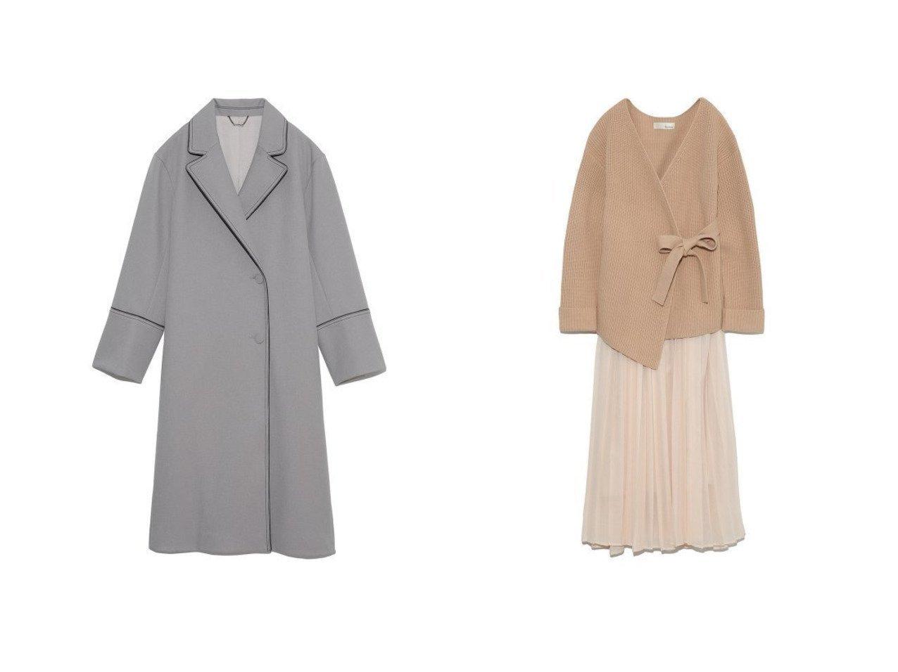 【Lily Brown/リリーブラウン】のニットセットスカート&パイピングスプリングコート Lily Brownのおすすめ!人気、トレンド・レディースファッションの通販 おすすめで人気の流行・トレンド、ファッションの通販商品 メンズファッション・キッズファッション・インテリア・家具・レディースファッション・服の通販 founy(ファニー) https://founy.com/ ファッション Fashion レディースファッション WOMEN アウター Coat Outerwear コート Coats チェスターコート Top Coat セットアップ Setup トップス Tops スカート Skirt 春 Spring クラシカル シンプル スマート チェスターコート なめらか バランス パイピング ワーク 畦 シアー セットアップ フェミニン ラップ ラベンダー リボン 再入荷 Restock/Back in Stock/Re Arrival  ID:crp329100000019629