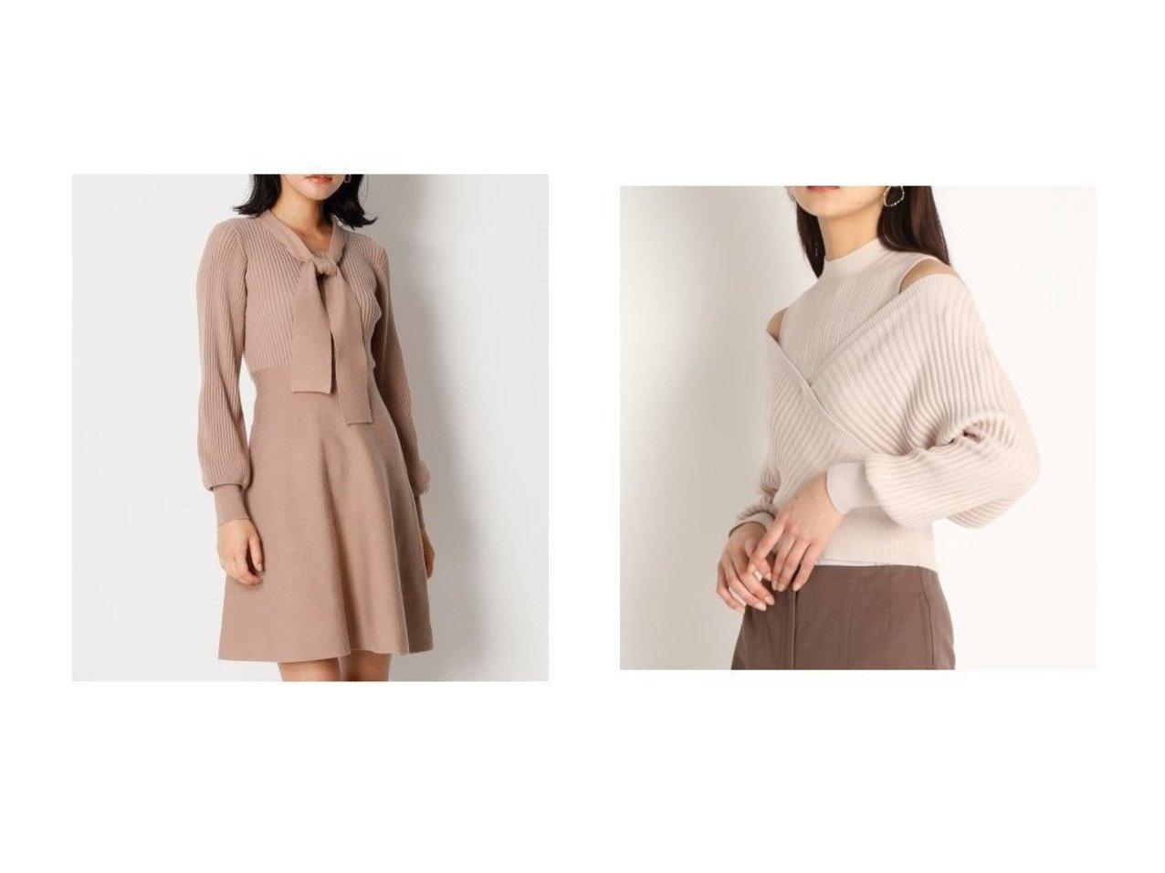 【Lily Brown/リリーブラウン】のレイヤードオフショルニット&ボウタイニットワンピース Lily Brownのおすすめ!人気、トレンド・レディースファッションの通販 おすすめで人気の流行・トレンド、ファッションの通販商品 メンズファッション・キッズファッション・インテリア・家具・レディースファッション・服の通販 founy(ファニー) https://founy.com/ ファッション Fashion レディースファッション WOMEN ワンピース Dress ニットワンピース Knit Dresses トップス Tops Tshirt ニット Knit Tops クラシカル クラシック スマート フレア フロント クール コンパクト セーター ドッキング ノースリーブ 人気 春 Spring  ID:crp329100000019635