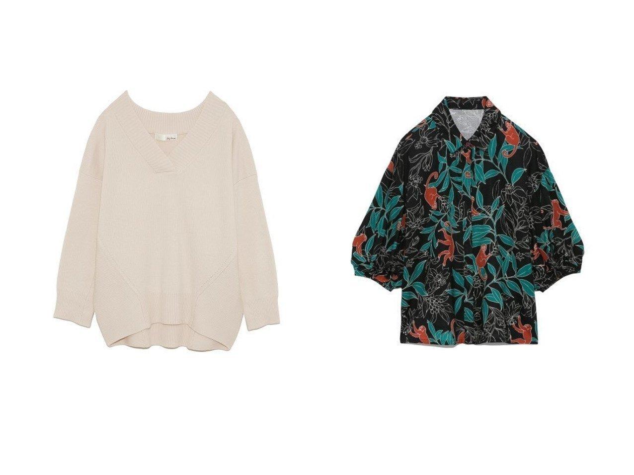 【Lily Brown/リリーブラウン】のモンキー柄ブラウス&Vネックオーバーニットプル Lily Brownのおすすめ!人気、トレンド・レディースファッションの通販 おすすめで人気の流行・トレンド、ファッションの通販商品 メンズファッション・キッズファッション・インテリア・家具・レディースファッション・服の通販 founy(ファニー) https://founy.com/ ファッション Fashion レディースファッション WOMEN トップス Tops Tshirt ニット Knit Tops Vネック V-Neck シャツ/ブラウス Shirts Blouses オフショル オフショルダー 畦 シンプル スマート セットアップ セーター ダブル フォルム ボトム 再入荷 Restock/Back in Stock/Re Arrival ウッド オリエンタル スリーブ バランス バルーン プリント リラックス  ID:crp329100000019636