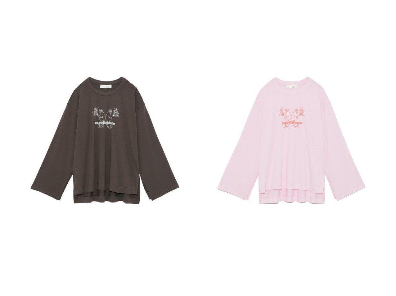 【Lily Brown/リリーブラウン】のモンキーロゴTシャツ Lily Brownのおすすめ!人気、トレンド・レディースファッションの通販 おすすめで人気の流行・トレンド、ファッションの通販商品 メンズファッション・キッズファッション・インテリア・家具・レディースファッション・服の通販 founy(ファニー) https://founy.com/ ファッション Fashion レディースファッション WOMEN トップス Tops Tshirt シャツ/ブラウス Shirts Blouses ロング / Tシャツ T-Shirts カットソー Cut and Sewn イラスト インナー カットソー スマート スリット スリーブ フロント  ID:crp329100000019642