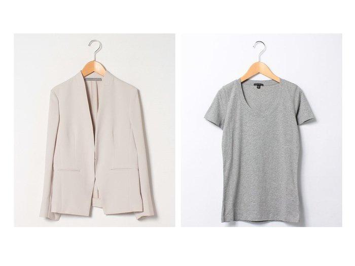 【theory/セオリー】のUネックTシャツJUIN2&【Theory Luxe/セオリーリュクス】の【セットアップ対応商品】ジャケット LIVE DONNA2S theoryのおすすめ!人気、トレンド・レディースファッションの通販 おすすめファッション通販アイテム レディースファッション・服の通販 founy(ファニー) ファッション Fashion レディースファッション WOMEN アウター Coat Outerwear ジャケット Jackets ノーカラージャケット No Collar Leather Jackets トップス カットソー Tops Tshirt シャツ/ブラウス Shirts Blouses ロング / Tシャツ T-Shirts カットソー Cut and Sewn シェイプ ジャケット セットアップ フェミニン フロント シンプル ストレッチ デコルテ フィット ラウンド 半袖 |ID:crp329100000020130
