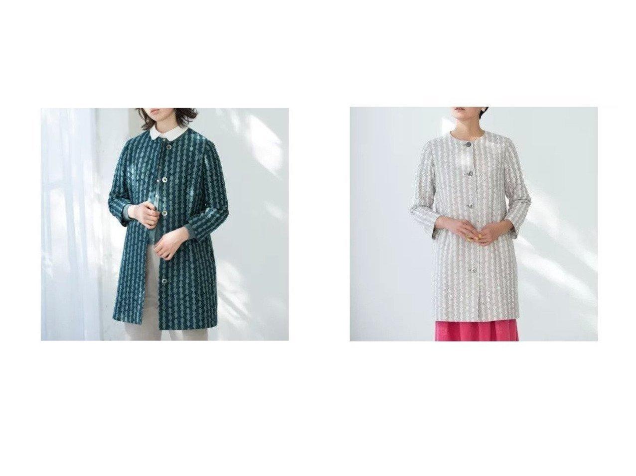 【Sally Scott/サリースコット】のコート Sally Scottのおすすめ!人気、トレンド・レディースファッションの通販  おすすめで人気の流行・トレンド、ファッションの通販商品 メンズファッション・キッズファッション・インテリア・家具・レディースファッション・服の通販 founy(ファニー) https://founy.com/ ファッション Fashion レディースファッション WOMEN アウター Coat Outerwear コート Coats 春 Spring キュプラ シンプル ジャカード ストライプ 手描き ポケット モチーフ |ID:crp329100000020196