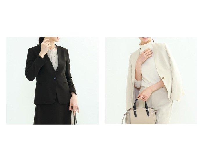 【INDIVI/インディヴィ】のエレコフツイルノーカラージャケット INDIVIのおすすめ!人気、トレンド・レディースファッションの通販  おすすめファッション通販アイテム インテリア・キッズ・メンズ・レディースファッション・服の通販 founy(ファニー) https://founy.com/ ファッション Fashion レディースファッション WOMEN アウター Coat Outerwear ジャケット Jackets ノーカラージャケット No Collar Leather Jackets スーツ Suits スーツ ジャケット Jacket カーディガン 吸水 ジャケット ストレッチ スーツ セットアップ フォーマル ポケット  ID:crp329100000020277