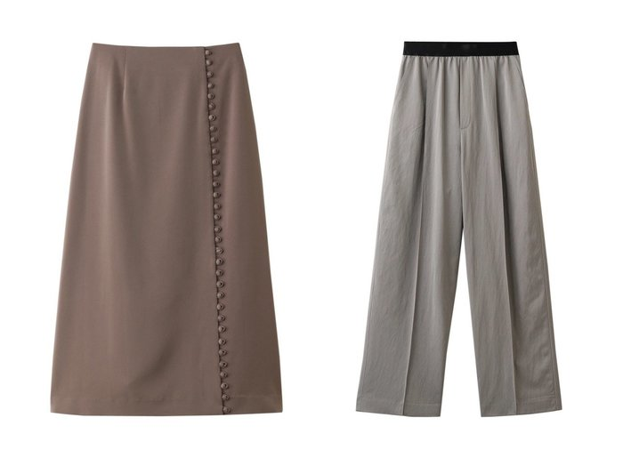 【LE CIEL BLEU/ルシェル ブルー】のラップボタンディティールスカート&エラスティックウエストパンツ LE CIEL BLEUのおすすめ!人気、トレンド・レディースファッションの通販 おすすめファッション通販アイテム レディースファッション・服の通販 founy(ファニー) ファッション Fashion レディースファッション WOMEN スカート Skirt パンツ Pants 2021年 2021 2021 春夏 S/S SS Spring/Summer 2021 S/S 春夏 SS Spring/Summer ストレッチ フレア フロント ラップ 春 Spring |ID:crp329100000020311