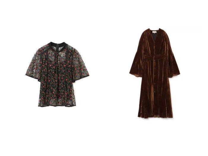 【LOKITHO/ロキト】のFLOWER EMBROIDRED BLOUSE&WASHED VELET GOWN DRESS LOKITHOのおすすめ!人気、トレンド・レディースファッションの通販 おすすめファッション通販アイテム レディースファッション・服の通販 founy(ファニー) ファッション Fashion レディースファッション WOMEN トップス カットソー Tops Tshirt シャツ/ブラウス Shirts Blouses ワンピース Dress ドレス Party Dresses 2021年 2021 2021 春夏 S/S SS Spring/Summer 2021 S/S 春夏 SS Spring/Summer インナー エアリー エレガント チェック メッシュ 半袖 ガウン ギャザー クラシカル ドレス フォーマル フレア ベルベット 長袖 |ID:crp329100000020370