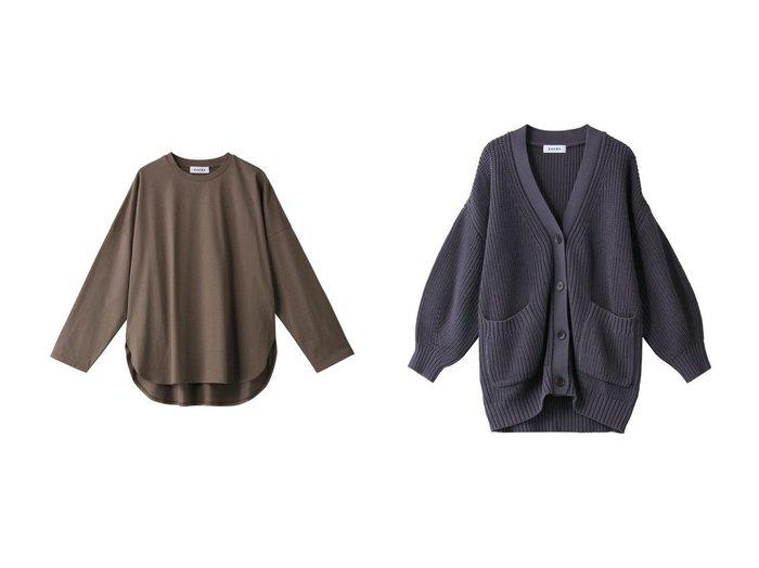 【SACRA/サクラ】のコンパクトシルクコットンロングスリーブTシャツ&コードツイストコットンニットカーディガン SACRAのおすすめ!人気、トレンド・レディースファッションの通販 おすすめファッション通販アイテム レディースファッション・服の通販 founy(ファニー) ファッション Fashion レディースファッション WOMEN トップス カットソー Tops Tshirt シャツ/ブラウス Shirts Blouses ロング / Tシャツ T-Shirts カットソー Cut and Sewn ニット Knit Tops カーディガン Cardigans 2021年 2021 2021 春夏 S/S SS Spring/Summer 2021 S/S 春夏 SS Spring/Summer なめらか シルク シンプル スリーブ リラックス ロング 定番 Standard 春 Spring |ID:crp329100000020499