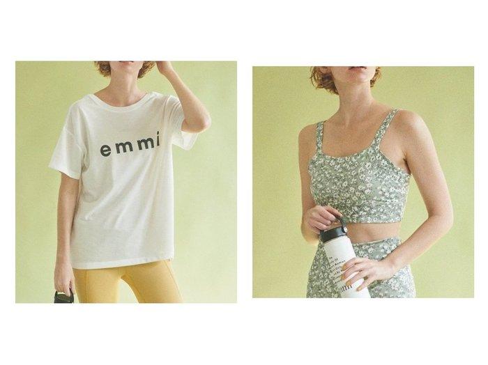 【emmi/エミ】の【emmi yoga】eco・emmiロゴT-shirt&【emmi yoga】emmiflowerブラトップ スポーツ・ヨガウェア、運動・ダイエットグッズなどのおすすめ!人気、トレンド・レディースファッションの通販 おすすめファッション通販アイテム レディースファッション・服の通販 founy(ファニー) ファッション Fashion レディースファッション WOMEN トップス カットソー Tops Tshirt シャツ/ブラウス Shirts Blouses ロング / Tシャツ T-Shirts カットソー Cut and Sewn NEW・新作・新着・新入荷 New Arrivals カットソー スポーツ フロント 吸水  ID:crp329100000020513