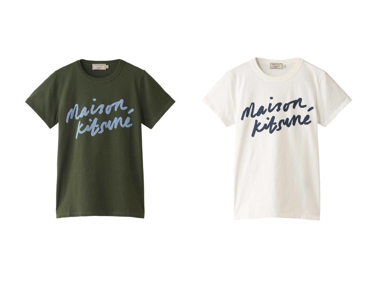 【MAISON KITSUNE/メゾン キツネ】のHANDWRITING CLASSIC TEE-Tシャツ&HANDWRITING CLASSIC TEE-Tシャツ MAISON KITSUNEのおすすめ!人気、トレンド・レディースファッションの通販 おすすめで人気の流行・トレンド、ファッションの通販商品 メンズファッション・キッズファッション・インテリア・家具・レディースファッション・服の通販 founy(ファニー) https://founy.com/ ファッション Fashion レディースファッション WOMEN トップス カットソー Tops Tshirt シャツ/ブラウス Shirts Blouses ロング / Tシャツ T-Shirts カットソー Cut and Sewn 2021年 2021 2021 春夏 S/S SS Spring/Summer 2021 S/S 春夏 SS Spring/Summer ショート シンプル ストライプ スリーブ プリント ロング 春 Spring |ID:crp329100000020624